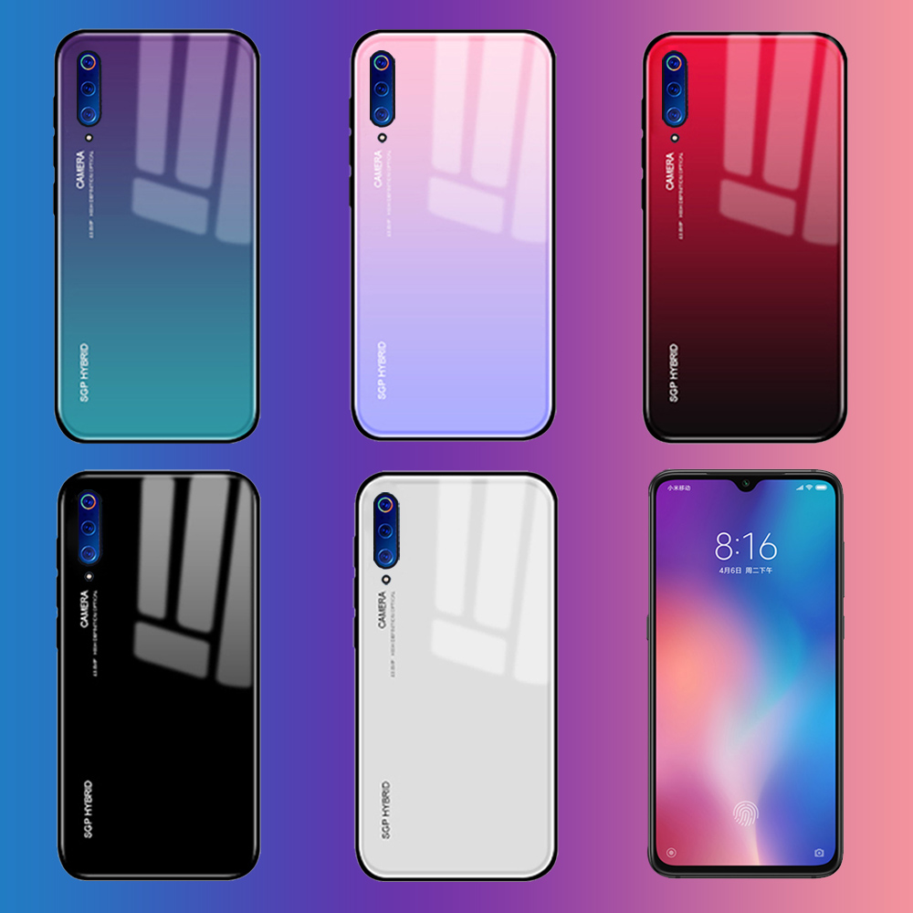 Gradient Tempered Glass Phone <font><b>Case</b></font> For Xiaomi mi 9 8 <font><b>6</b></font> 5x a1 a2 lite <font><b>Redmi</b></font> <font><b>Note</b></font> 7 <font><b>6</b></font> <font><b>Pro</b></font> mi9 Back Cover Pocophone poco f1 Coque image