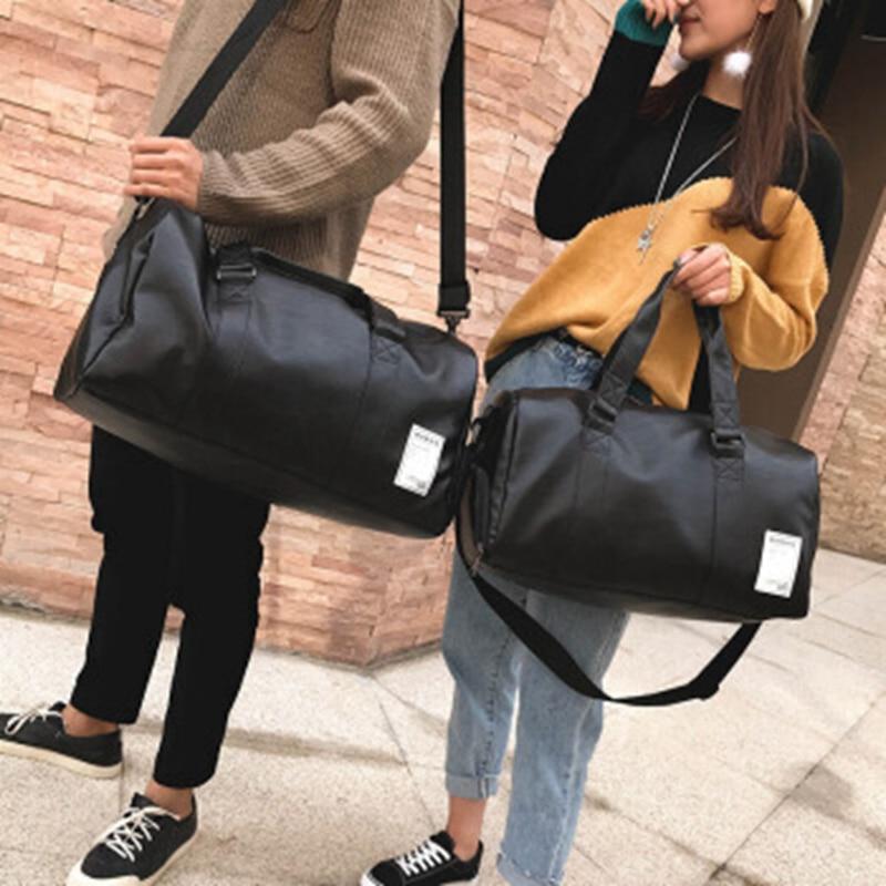 Gym Bag Leather Sports Bags Big MenTraining Tas for Shoes Lady Fitness Yoga Travel Luggage Shoulder Black Sac De Sport XA512WD (23)