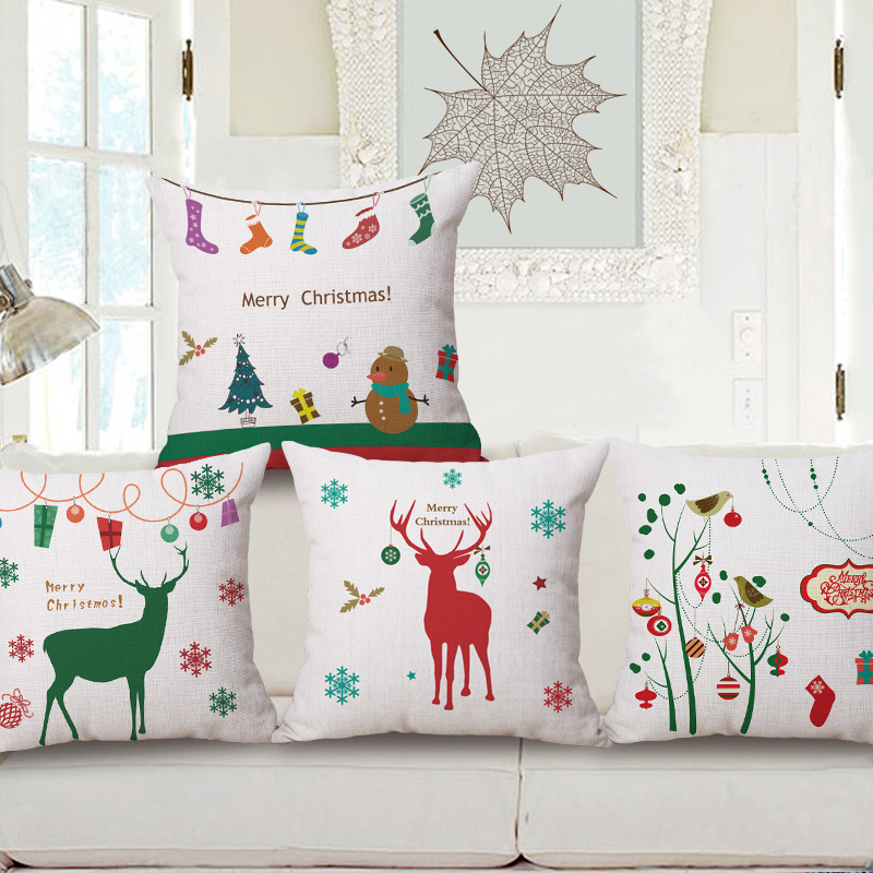 merry christmas decorative pillow cover cotton linen home decorative pillow case throw cushion cover sofa 45x45cm cojines - Christmas Decorative Pillow Covers