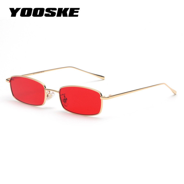 0651539e1b7 YOOSKE Vintage Sunglasses Men Women Brand Designer Rectangle Metal Sun  Glasses Ladies Small Retro Shades Eyewear