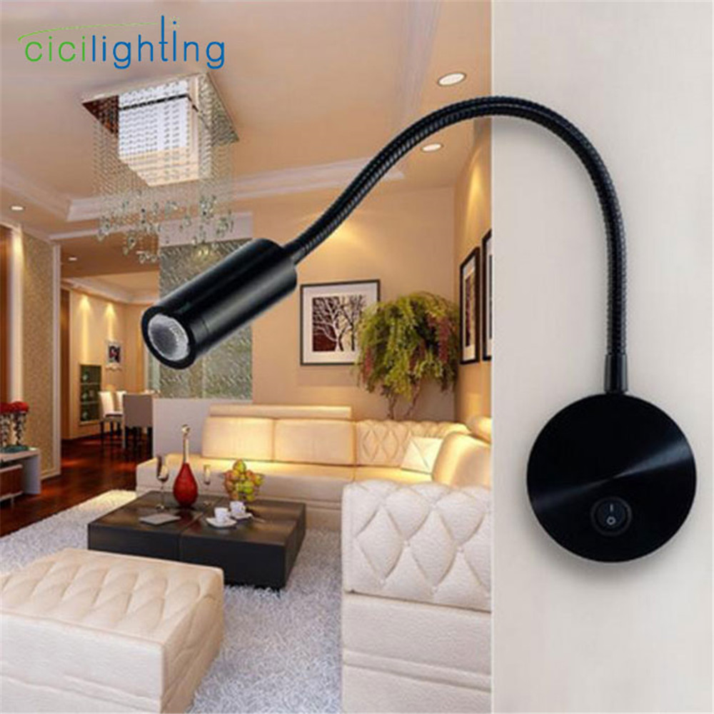 Wall Mount Goose Neck Spot Lighting Accent: Hardwired Black Flexible Gooseneck Wall Sconce Reading