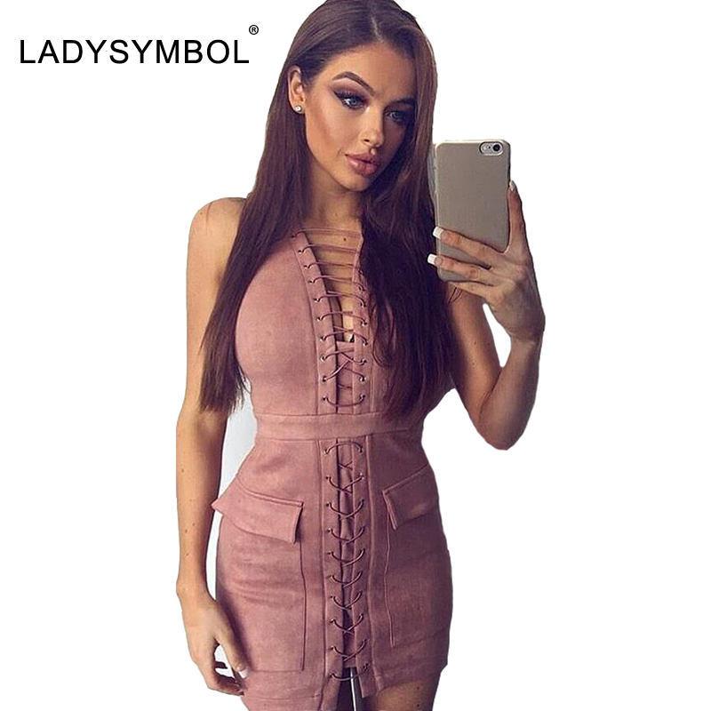 Ladysymbol faux suede lace up dress mujeres casual invierno bodycon dress sexy p