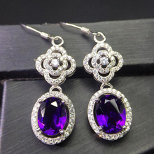 Clearance Sale Luxury Natural Amethyst White Gold 925 Sterling Silver Drop Earrings for Women Rose Gold Earring Jewelry YEA089 цены онлайн