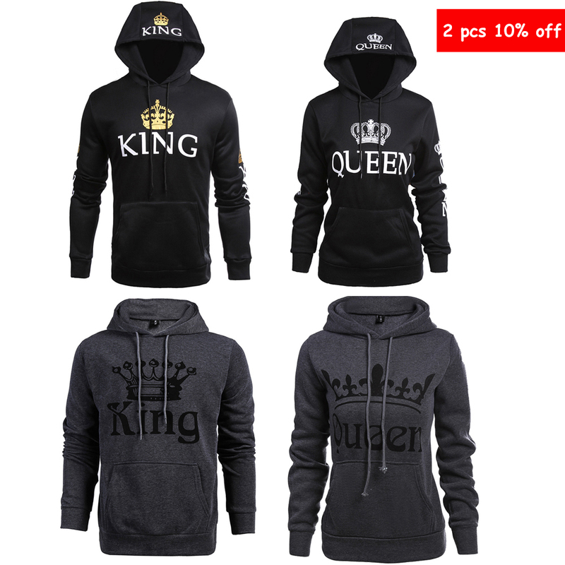 Valentines Day Gift KING Queen Hoodie Couple Slim Sweatshirt for Couple Lovers Long Sleeve Winter Women Men Hooded Pullovers
