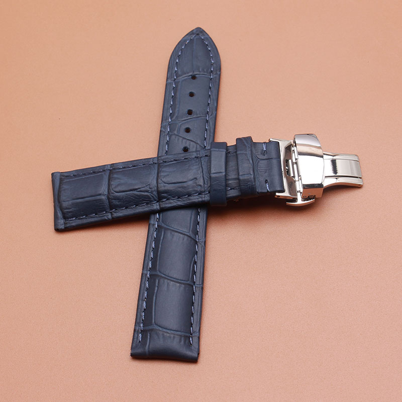 Dark Blue Leather watchbands with silver metal Butterfly buckle watch band strap fashion watch accessories fit luxury hours 20mm vik max adult kids dark blue leather figure skate shoes with aluminium alloy frame and stainless steel ice blade