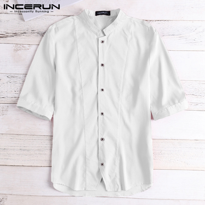 INCERUN Mens Casual Shirt Half Sleeve Solid Stand Collar Button Tops Streetwear Slim Fit Dress Shirts Men Camisa Masculina 2019
