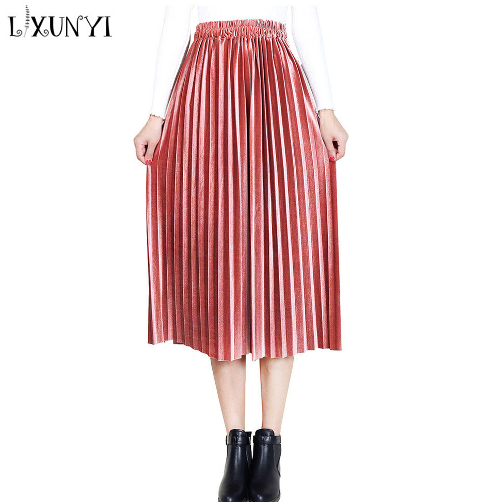LXUNYI 2018 Autumn Winter Velvet Pleated Skirt Midi Women Elastic Waist Solid Elasticity Pleated Skirts Ladies Loose Kilt Skirts