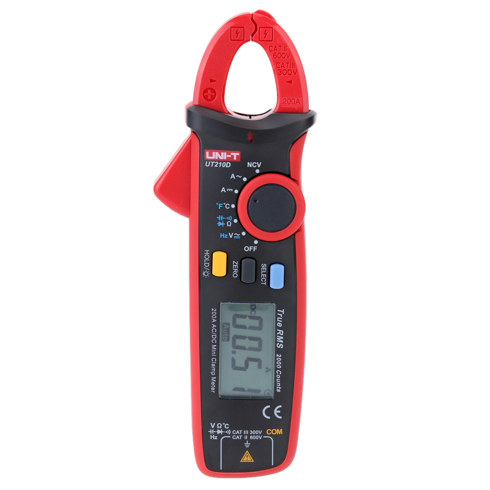 UNI T Digital UT210D Clamp Meter AC DC Multimeter True RMS Auto Range Current Pincers Voltmeter NCV Temperature Capacitance Test uni t ut210d digital clamp meter ac dc current voltage meter true rms mini auto range multimetro digital multimeter
