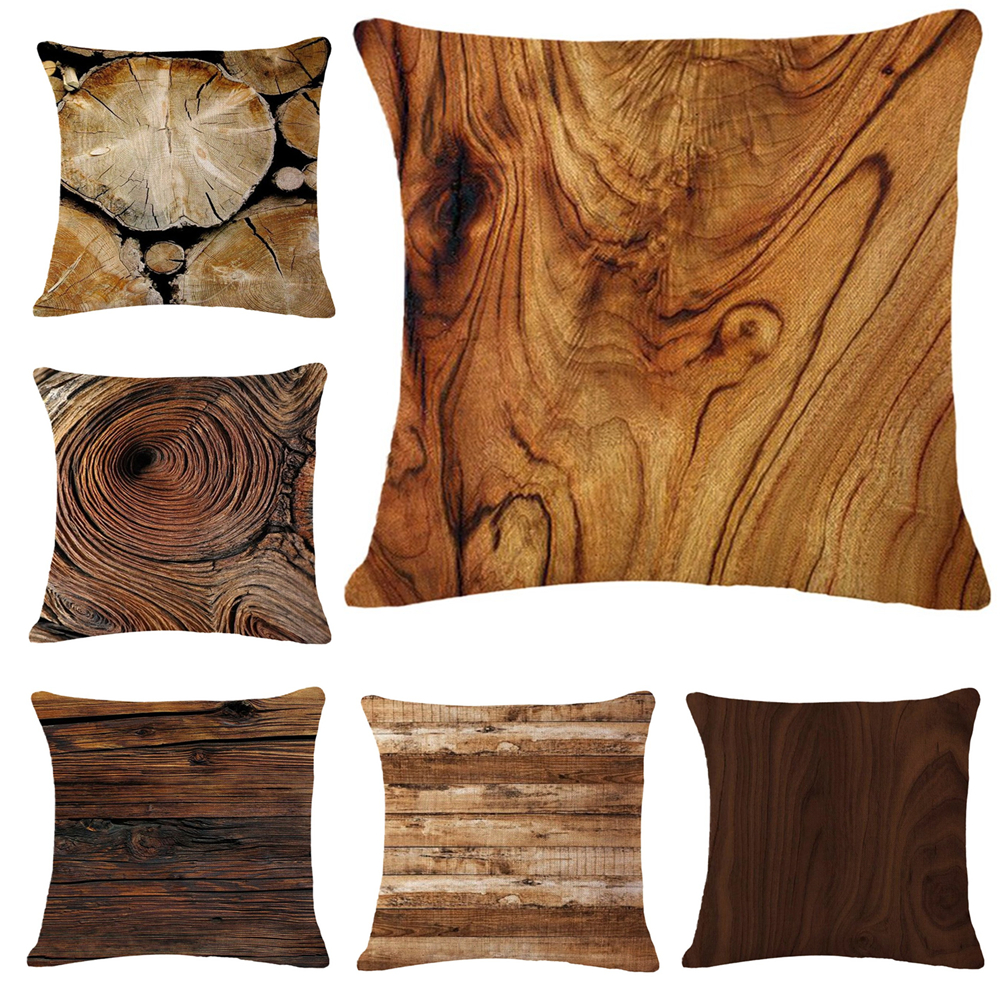 Natural Brown Wood Seat Cushions Linen Cotton Square Decorative Outdoor Pillows Almofada for Home Office 45*45cm