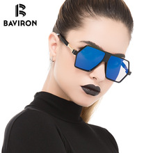 BAVIRON Vintage Oversized Irregular Sunglasses for Women Fashion Shield