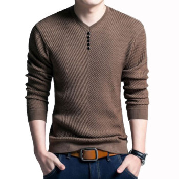 цены Spring Henley Neck Sweater Men Cashmere Pullover Sweater Mens Knitted Sweaters T shirt Pull Homme Jersey Hombre 2019