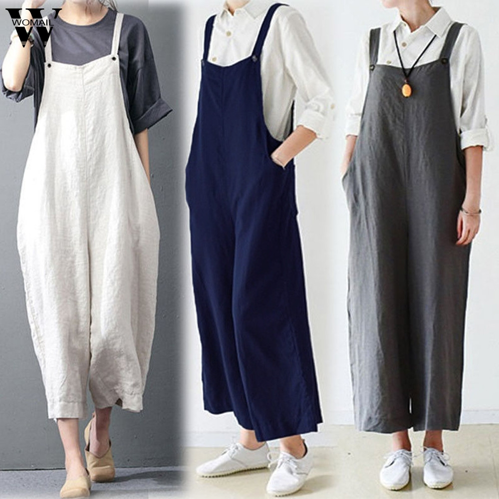 Womail bodysuit Women Summer Casual Cotton Cargo Pants Bib Overalls Dungaree Wide Leg Trousers   Jumpsuit   Romper dropship M5