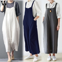 Womail bodysuit Women Summer Casual Cotton Cargo Pants Bib Overalls Dungaree Wide Leg Trousers