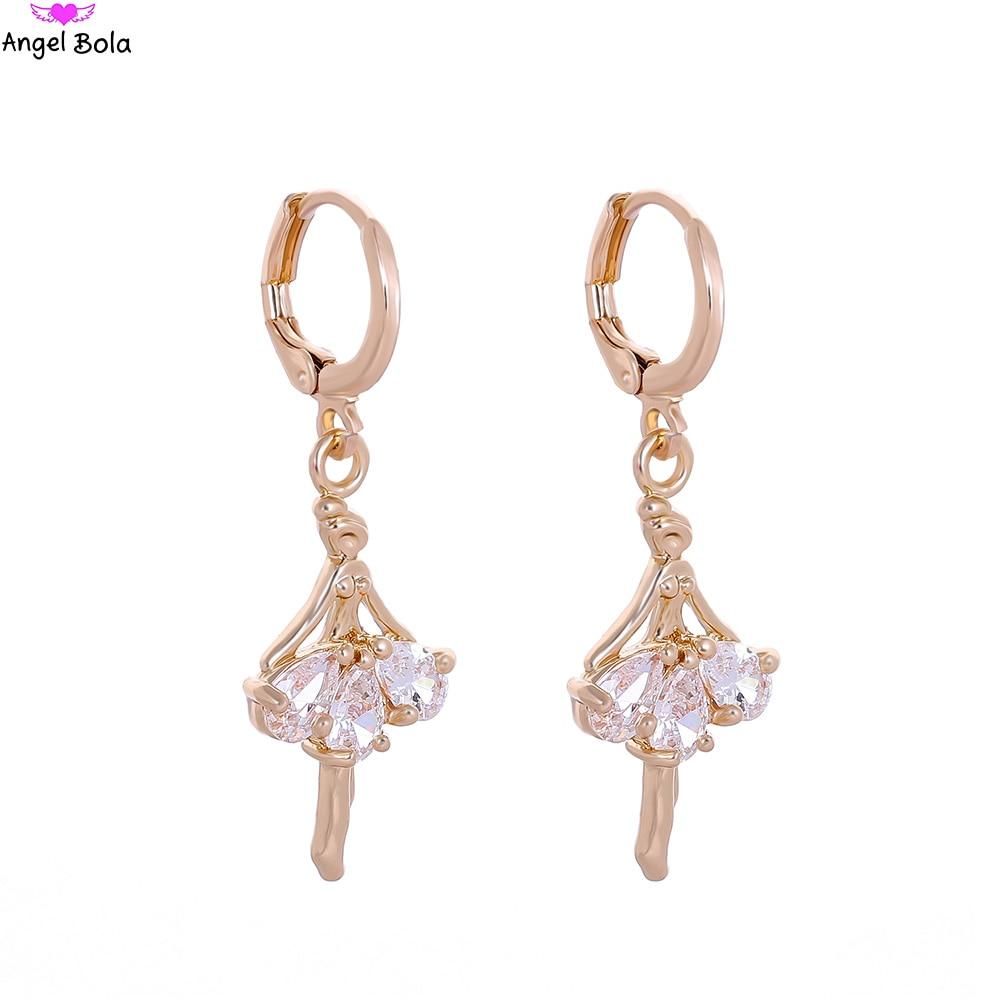 Cool Design Gold Color Dancing Girl Ballet Dangel Earring Fashion Jewelry Ladies Cubic Zircon Crystal Earrings E-036