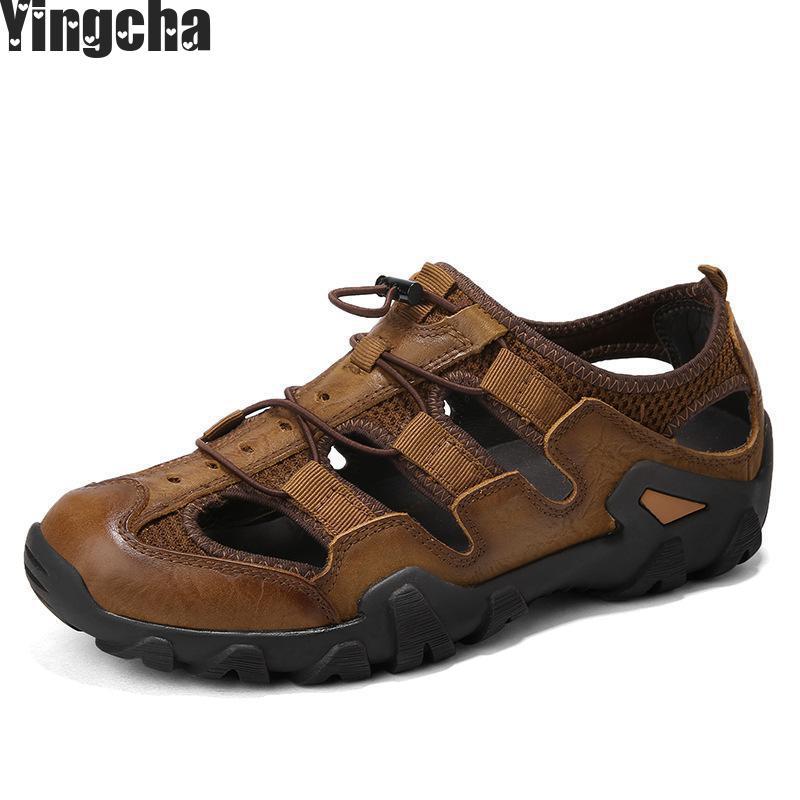 Брендовые летние туфли из натуральной кожи мягкий мужской Босоножки для Для мужчин дышащие легкие пляжные Повседневное качество Прогулки ...