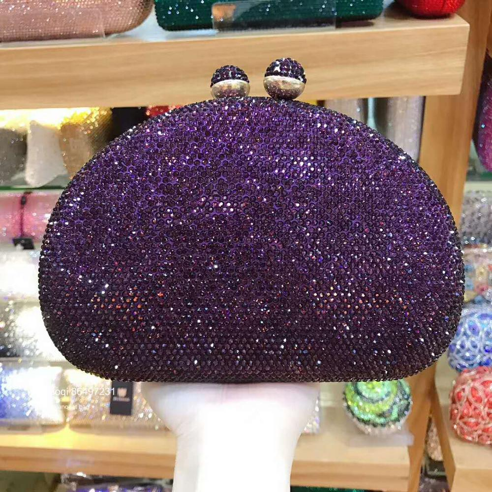 XIYUAN Women Black/silver/purple/pink/red Color Crystal Evening Bag Beaded Day Clutches Lady Wedding Purse Rhinestones Handbags