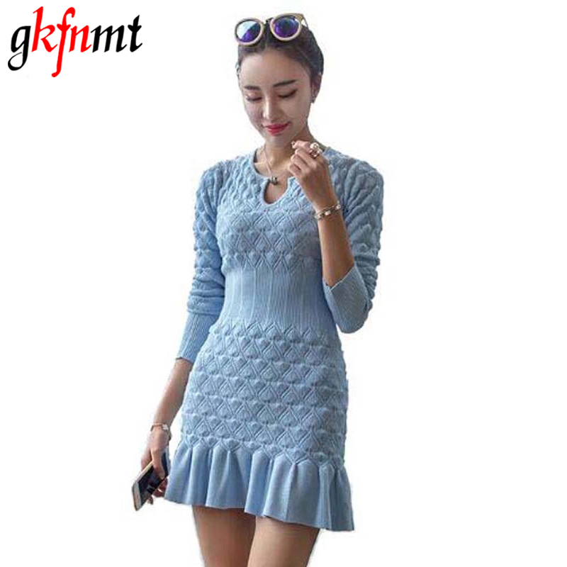 gkfnmt Women Knitted Dress Round Neck Long Sleeve Ruffles Patchwork Pullover Knitted 2018 New Spring Autumn Women Sweater Dress stylish round neck long sleeve stereo flower embellished knitted dress for women