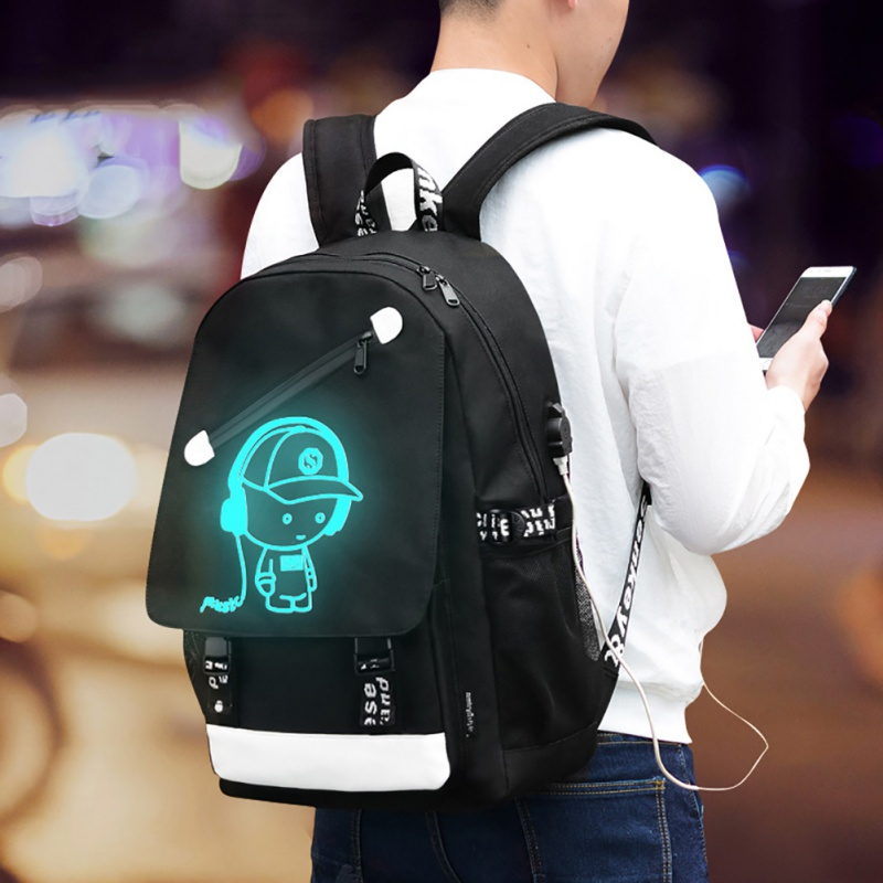 Women&Men Backpack Teenagers Backpack Gym Bags Senkey Style Cartoon USB Charge Backpack Anime Luminous School Bags