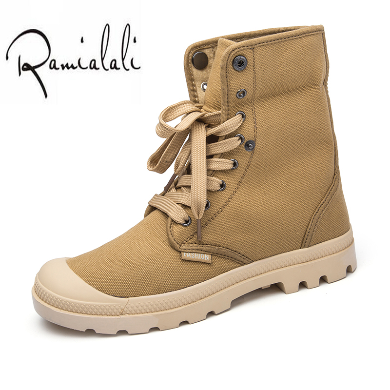 Ramialali Brand Fashion Boots Men Canvas Shoes Men Ankle Boots Casual Design Shoes High Top Warm