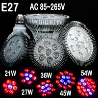 Horticulture E27 Full Spectrum LED Grow Light 21W 27W 336W 45W 54W For Flowers Plant And