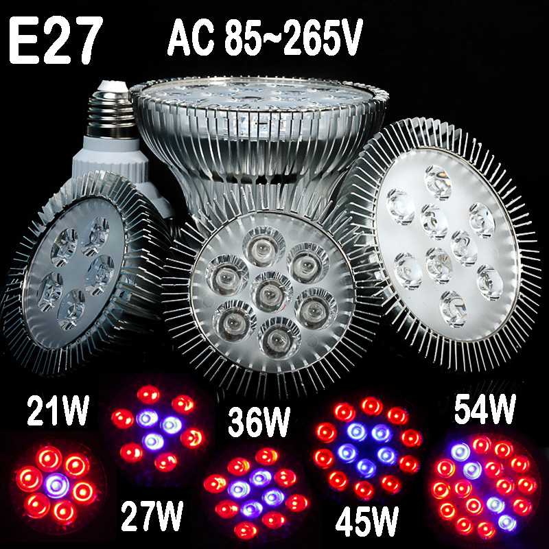 Horticulture E27 Fullspektrum LED Grow Light, 21W, 27W, 336W, 45W, 54W for Flowers Plant and Hydroponic System In Grow Tent