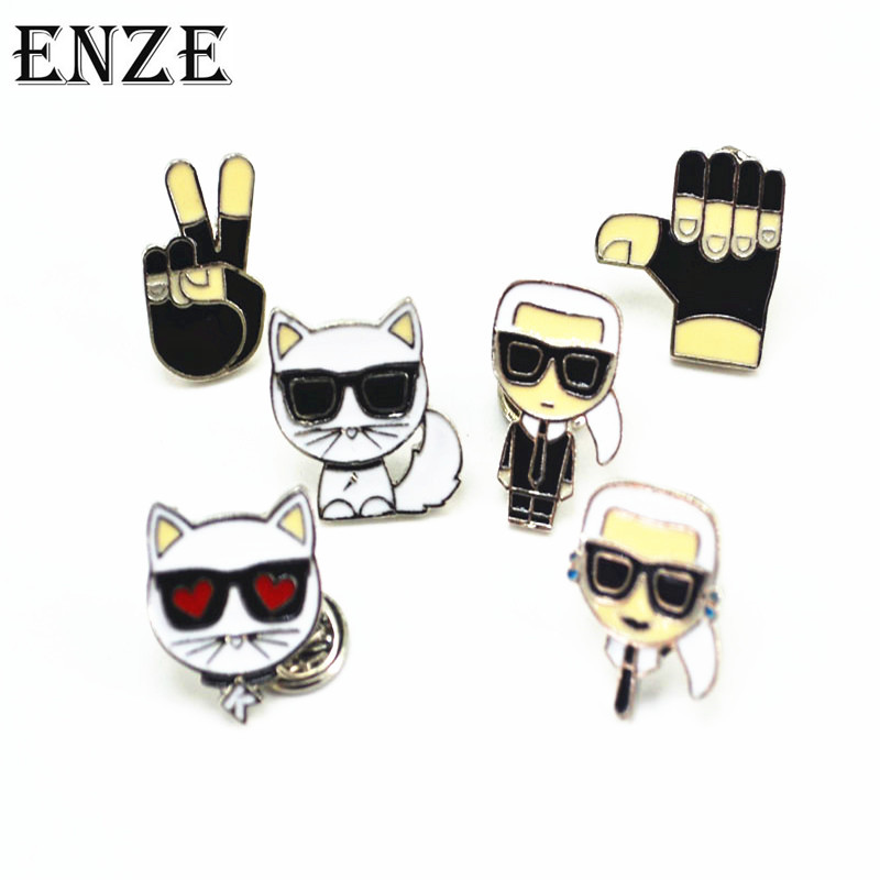ENZE new fashion cute animal small brooch enamel collar buckle cardigan sweater shawl accessories boy girl cat glasses women men