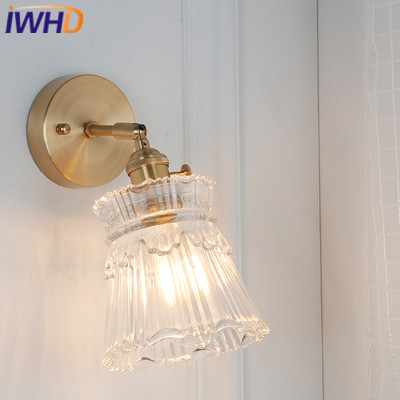 IWHD Copper Wall Lamp Post Modern Copper LED Wall Lights Vintage Light Glass Fixtures Home Lighting Bedside Sconce Luminaire hl good quality original wireless headset bluetooth headphone headband headset with fm tf led indicators for iphone cell phone