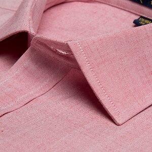 Image 3 - Vestido informal de lino y algodón para hombre, camisas de manga larga, bolsillo tipo parche abotonada, corte Regular, trabajo semiformal, Tops gruesos, camisa