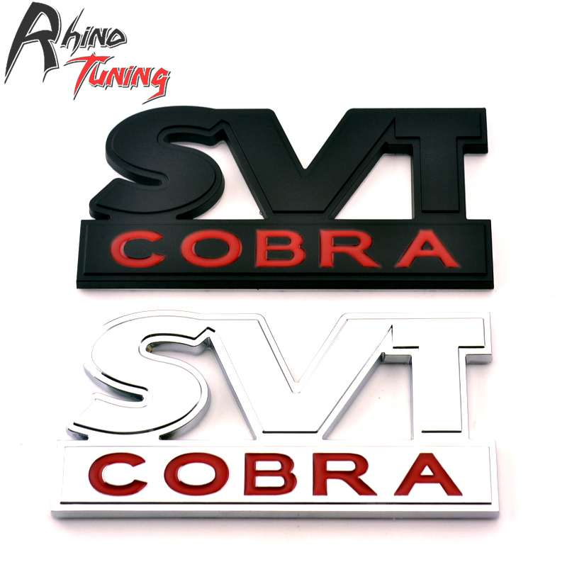 Rhino Tuning SVT Cobra Car Emblem Auto Styling Badge Metal Sticker For Shelby Cobra SVT Viper 342 15x15cm round svt cobra shelby gt500 super snake chrome abs car styling refitting emblem badge grille trunk 3d sticker for ford