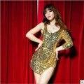6 EXTRA LARGE Мода Костюм Костюмы DS Ведущий Танцор Одежда DJ Джазовый Танец Одежда Женская Сексуальная Блестка
