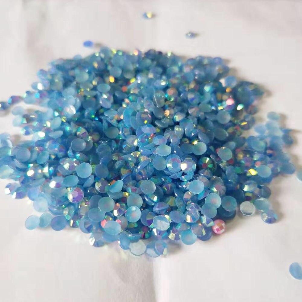 Blue Zircon AB 2mm,3mm,4mm Nail Art Resin Jelly Rhinestone Round Flatback For DIY Nail Art Accessories