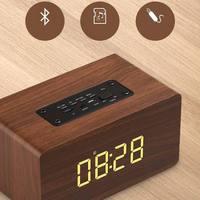Portable HiFi Shock Bass Altavoz TF caixa de som Soundbar for PHONE Alarm Clock Speaker Wooden Wireless Bluetooth 4.2 Speaker