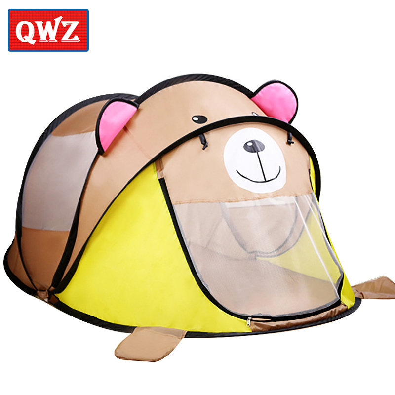 QWZ Cartoon Animal Toy Tents Children House Kids For Tent Indoor Outdoor Play Tent Folding Baby Gifts Tent Cute Ball Pool Pit baby foldable tents pink play house for camping kids ball pit outdoor toys