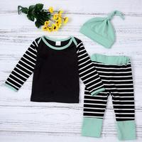 3pcs Autumn Infant Baby Clothing Set Boy Girl Striped T-shirt Pants Hat Clothing Set Outfit Infant Babies Kid Xmas Clothes
