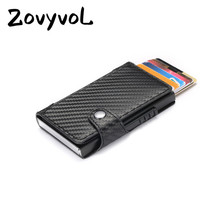 ZOVYVOL Slim Card Holder Carbon Fiber PU Leather Wallet RFID Blocking Men and Women for Travel Drop-shipping