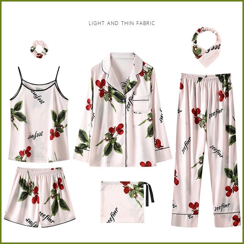 Комплекты с платьем женские комплекты из 7 предметов с шелковым принтом, милые женские пижамы для отдыха, весенне осенняя Домашняя одежда, о