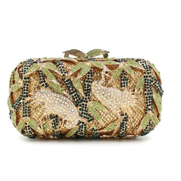 luxury white crane day clutches Wedding bags fashion 100% pure handmade Bamboo leaves print diamond clutch wallets purse green
