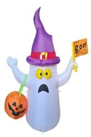 4 Foot Inflatable Ghost With Witch Hat Holding Pumpkin Bag Halloween LED Illuminate Toys Indoor Outdoor Yard Decorations