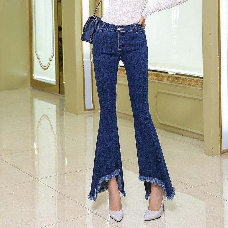 ФОТО New Women Slim high Waisted Stretch Big Horn Fringed Female Cowboy Korean Wide Leg Pants flared tassel ripped edge women Jeans