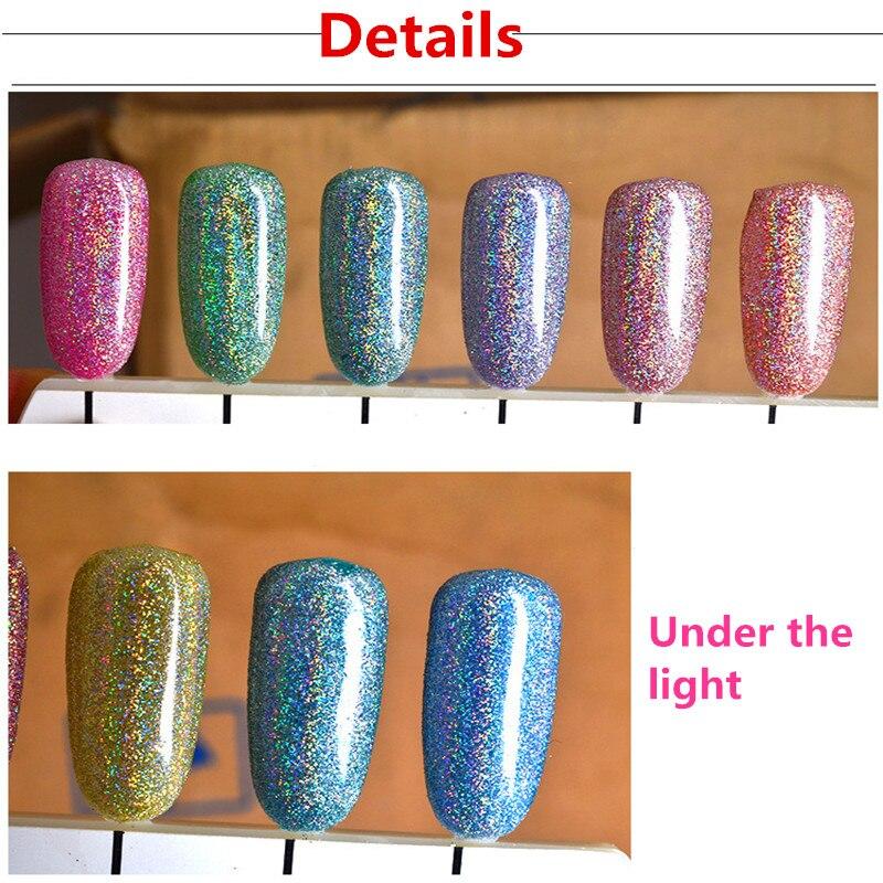 6 Colors Laser Powder Nail Polish Gel Glitter silver mirror powder ...