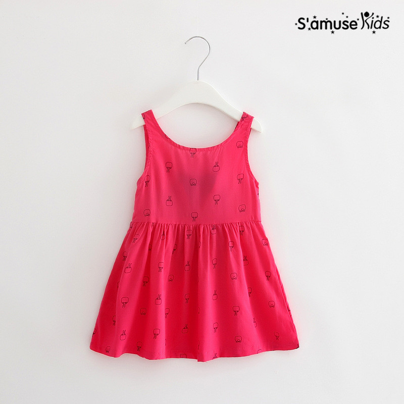 2017 Spring Summer New Hot Baby Girls Dresss Children Clothing Girls Cherry Bright Dresses Kids Clothes Vestidos Child Costume