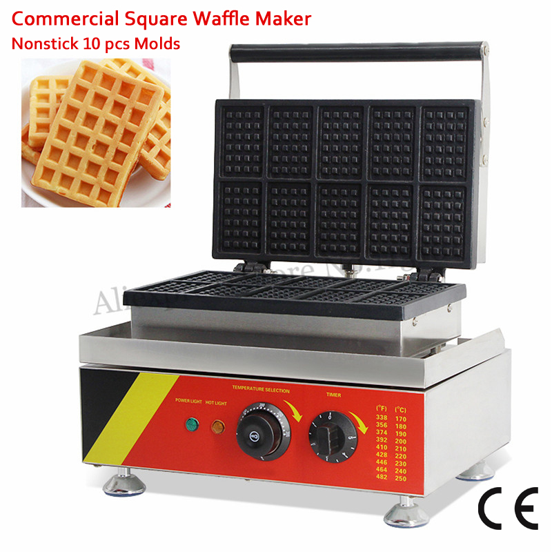 10 Molds Small Rectangle Waffle Machine Nonstick Cake Maker 110V 220V 1500W Food Street Kitchen Device vibration type pneumatic sanding machine rectangle grinding machine sand vibration machine polishing machine 70x100mm
