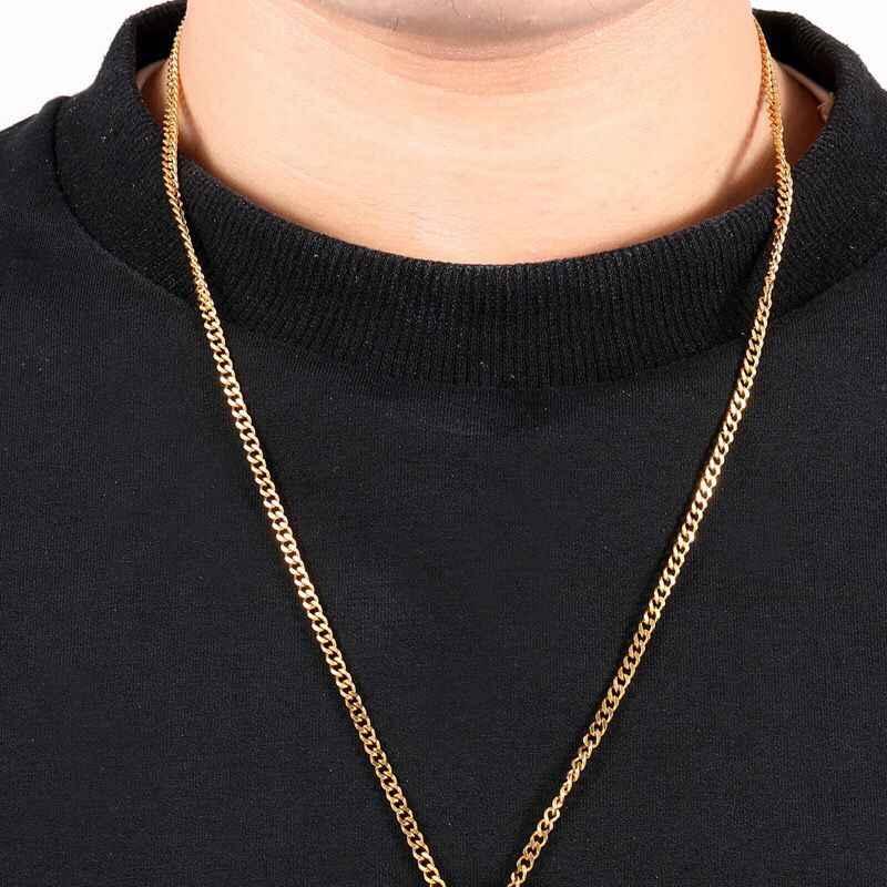MxGxFam (60 سنتيمتر x 3 مللي متر) الذهب اللون التيتانيوم الصلب 24 بوصة الهيب هوب الكوبي القلائد للرجال أزياء مجوهرات لا تتلاشى