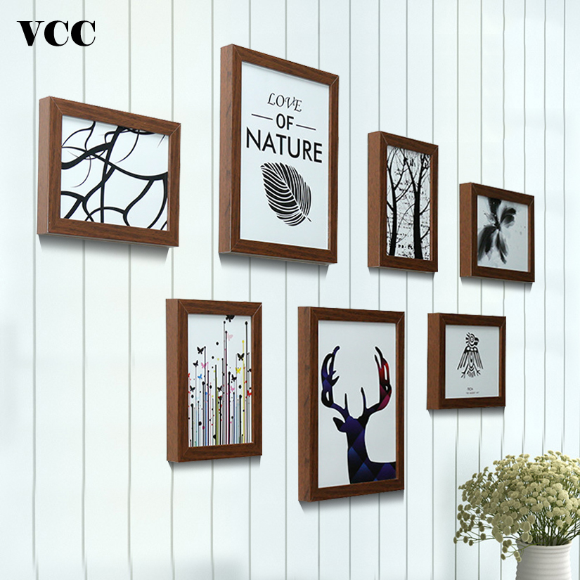 7 Pcs Classic Photo Frame For Wall Hanging Picture Frame Photo 7 10 Inch Wall Art Wedding Couple Recommendation Pictures Frames