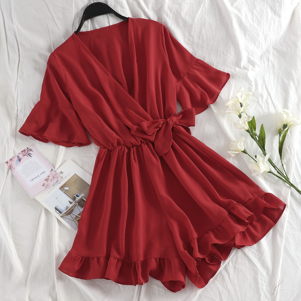 TAOVK Sweet Ruffled Women Playsuits Elastic High Waist Bow Female Jumpsuit Romper Butterfly Sleeve Short Overalls For Girls