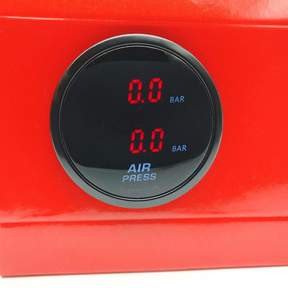 52mm Dual Air Pressure Gauge RED LED air suspension Air ride gauge with 2pieces 1 8NPT