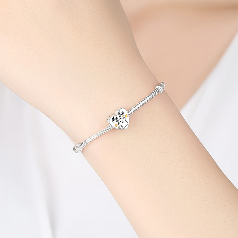 Authentic 925 Sterling Silver Charm Bead Halloween My Boo Romantic Heart Charms Ghost Fit Pandora Bracelets Women DIY Jewelry