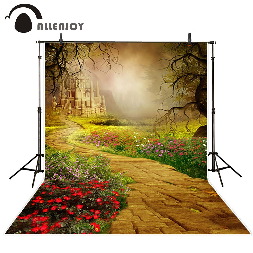 Allenjoy 5*7feet(150*220CM) Photography Backdrops Castle flowers photography Background Free Shipping new arrival background fundo antique wall flowers 7 feet length with 5 feet width backgrounds lk 2916
