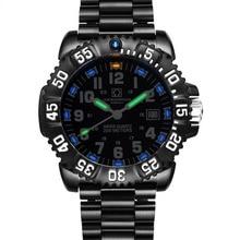Carnival Mens Sport Military Tritium Luminous 200m Waterproof Black Steel Watchband Quartz Diving Watch – black Bezel black Dial