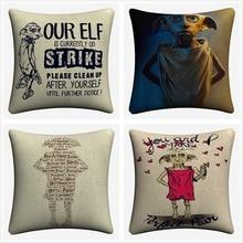 Love Dobby Harry Elf Decorative Cotton Linen Cushion Cover 45x45 cm For Sofa Chair Pillowcase Home Decor Almofada
